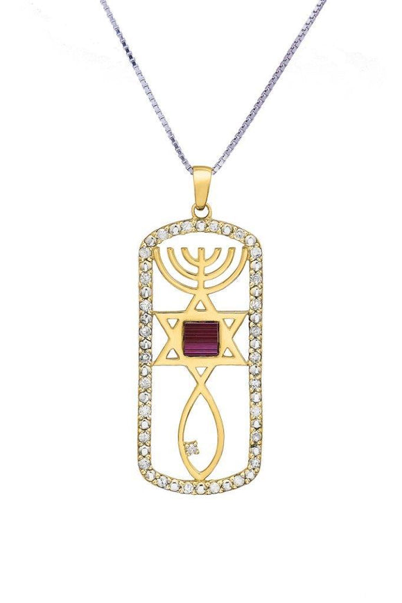 Nano Sim OB + NT 14K Gold Pendant Studded with 26 Diamonds + 1 Large Diamond in Messianic Symbol Design - The Peace Of God