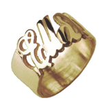 14K Gold English Personalized Cutout Ring
