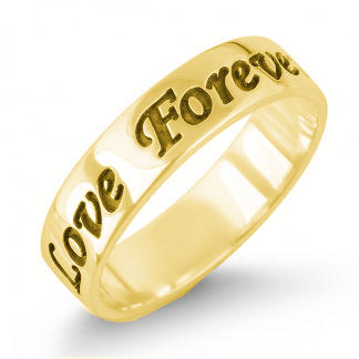 14K Gold English Engraved Personalized Band Ring