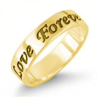 Gold-Plated Sterling Silver English Engraved Personalized Band Ring