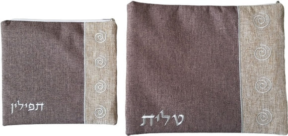 Linen Spirals Talit & Tefillin Bag - Brown