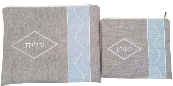 Linen Diamond Talit & Tefillin Bag - Gray & Pale Blue