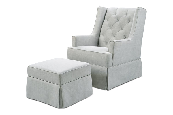 M18587,Sadie Swivel Glider with Storage Ottoman in Light Grey Tweed