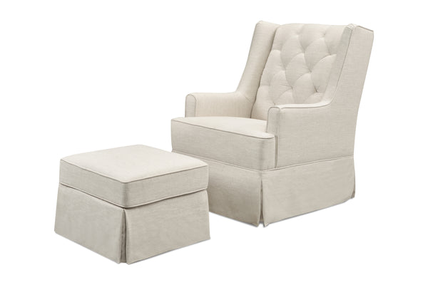 M18587,Sadie Swivel Glider with Storage Ottoman in Light Grey Tweed White Linen