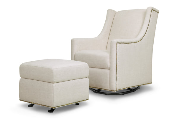 M18687,Harper Swivel Glider with Gliding Ottoman in Light Grey Tweed White Linen