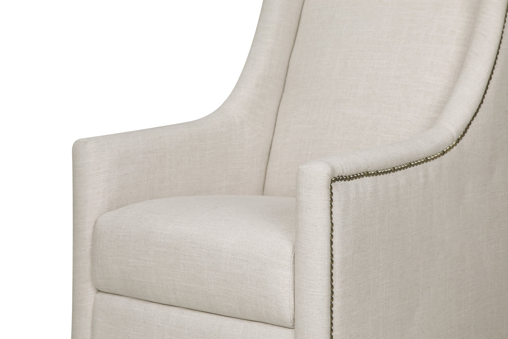 M18687LNWHT,Harper Swivel Glider with Gliding Ottoman in White Linen