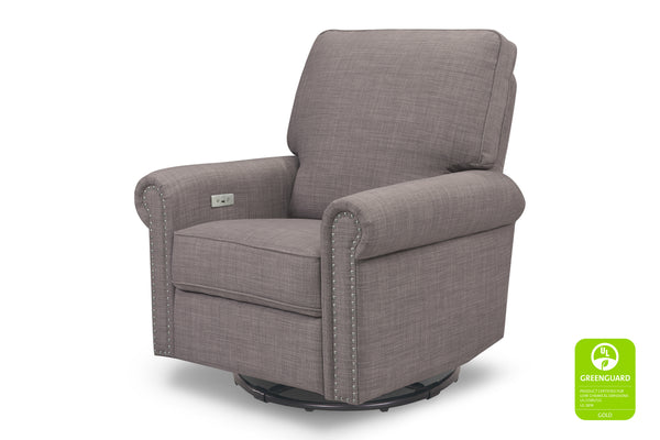 million dollar baby classic linden greenguard gliding electric power recliner with nailheads Grey Tweed