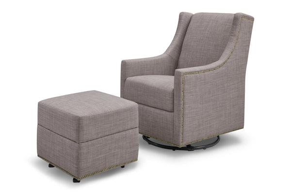 M18687,Harper Swivel Glider with Gliding Ottoman in Light Grey Tweed Grey Tweed