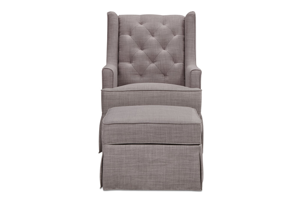 M18587FTGRY,Sadie Swivel Glider with Storage Ottoman in Grey Tweed