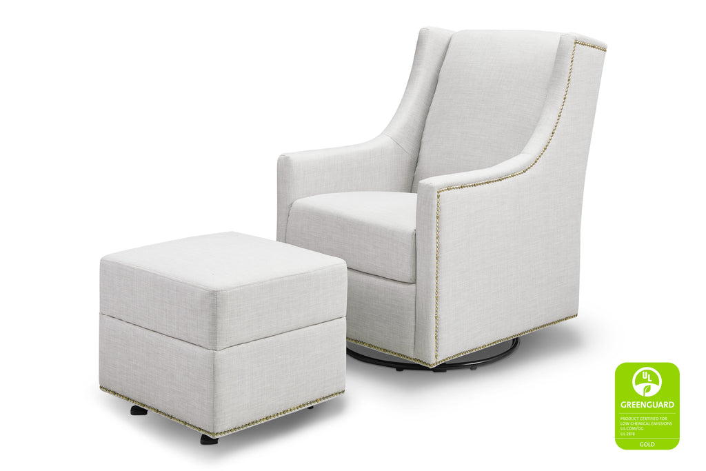 M18687FTLG,Harper Swivel Glider with Gliding Ottoman in Light Grey Tweed