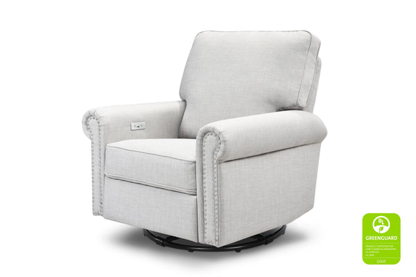 million dollar baby classic linden greenguard gliding electric power recliner with nailheads Light Grey Tweed