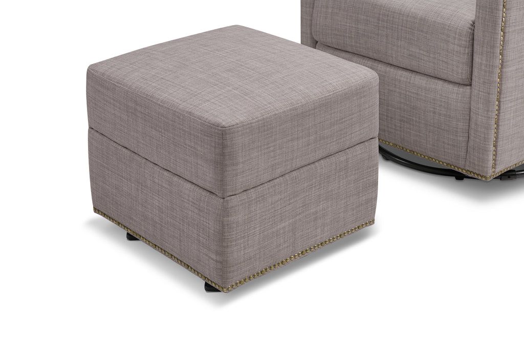 M18687FTGRY,Harper Swivel Glider with Gliding Ottoman in Grey Tweed