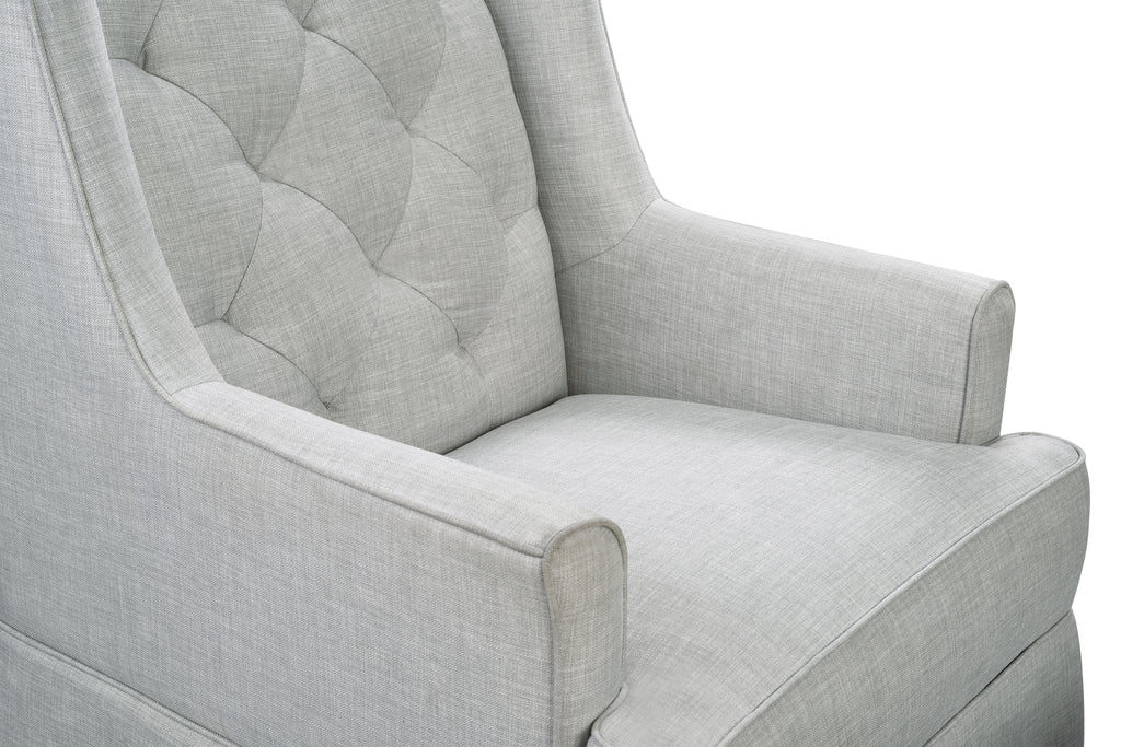 M18587FTLG,Sadie Swivel Glider with Storage Ottoman in Light Grey Tweed