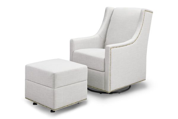 M18687,Harper Swivel Glider with Gliding Ottoman in Light Grey Tweed Light Grey Tweed