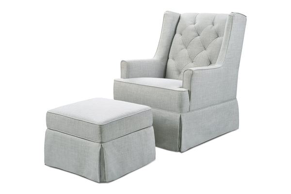 M18587,Sadie Swivel Glider with Storage Ottoman in Light Grey Tweed Light Grey Tweed