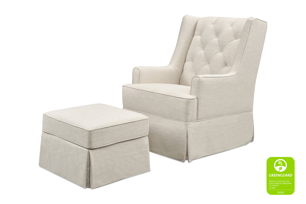 M18587LNWHT,Sadie Swivel Glider with Storage Ottoman in White Linen