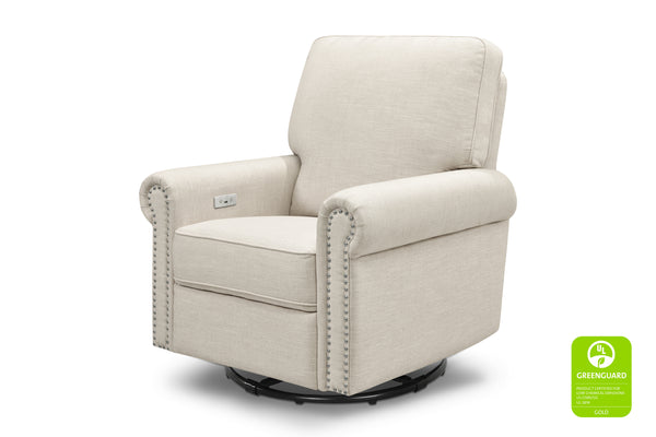 million dollar baby classic linden greenguard gliding electric power recliner with nailheads White Linen