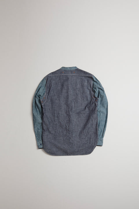 【AW19 MAN】ダンガリー スタンドシャツ / DUNGAREE STAND COLLAR SHIRT - DUNGAREE