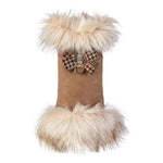 Susan Lanci Design - luxury ivory faux fox-fur trim coat with chocolate check bow and Swarovski - TiaraPooches.Com