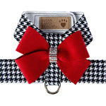 Susan Lanci Design  step-in harness - black and white check with red bow, Swarovski crystals - TiaraPooches.Com