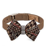 Susan Lanci Design - chocolate houndstooth check bow collar with Swarovski crystal - TiaraPooches.Com