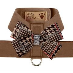Susan Lanci Design - chocolate houndstooth bow harness,  Swarovski crystals - TiaraPooches.Com