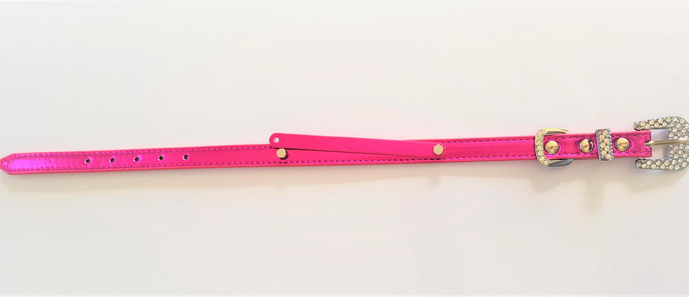 Customisable metallic hot pink rhinestone encrusted buckle collar - TiaraPooches.Com