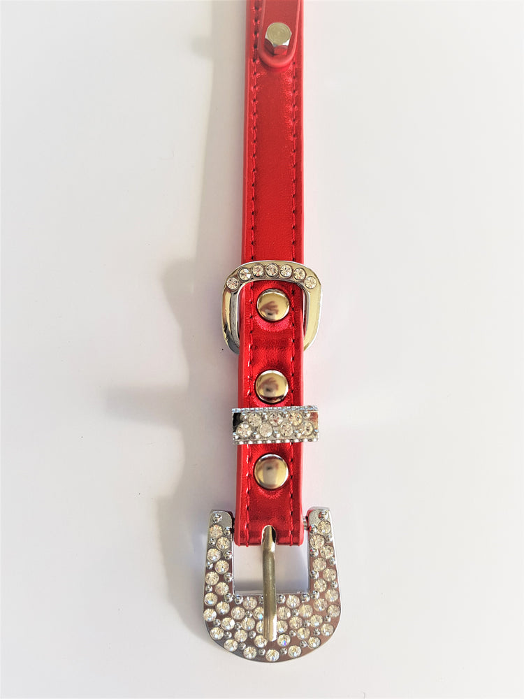 Customisable metallic lushes red rhinestone encrusted buckle collar