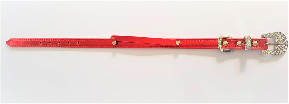 Customisable metallic lushes red rhinestone encrusted buckle collar - TiaraPooches.Com