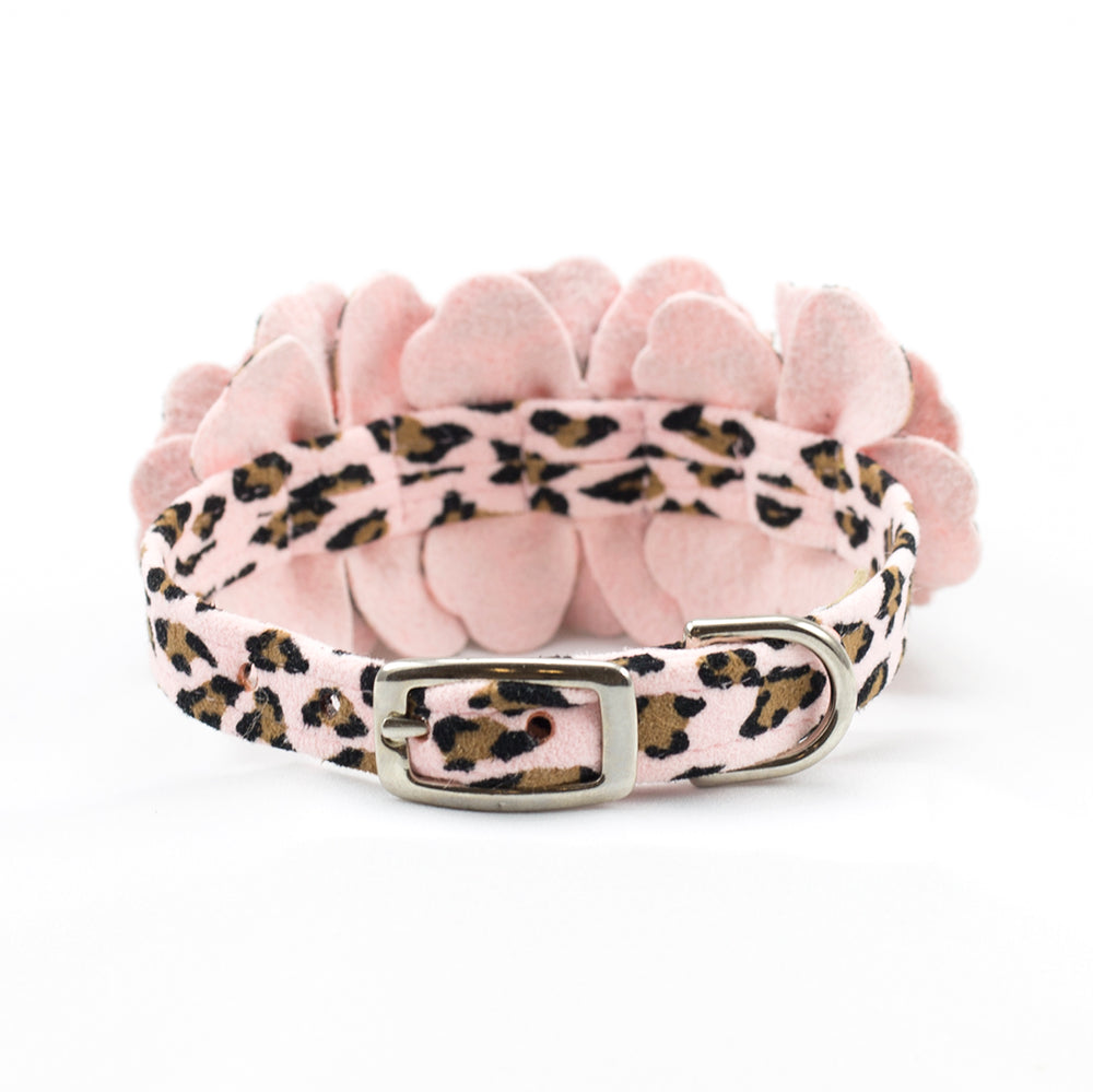 Susan Lanci Design haute couture pink cheetah flowers collar - TiaraPooches.Com