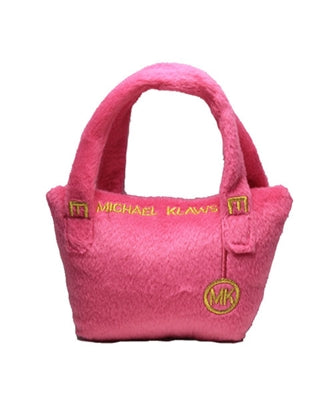 Michael Klaws faux fur plush designer toy handbag- hot pink