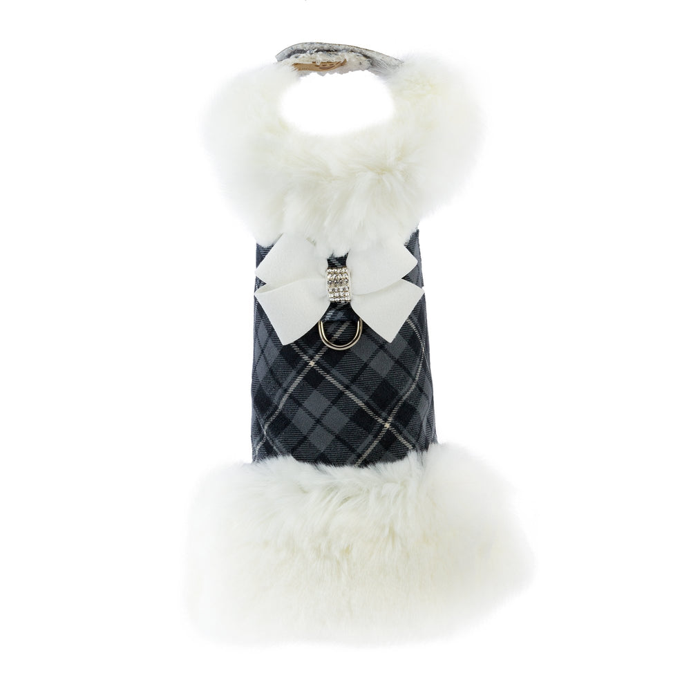 Susan Lanci Design luxury Scotty coat - white fake fur trim with grey check and Swarovski