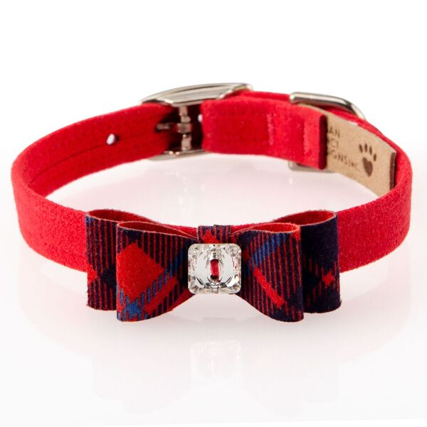 Susan Lanci Design - Scotty big bow collar, red check with Swarovski crystal