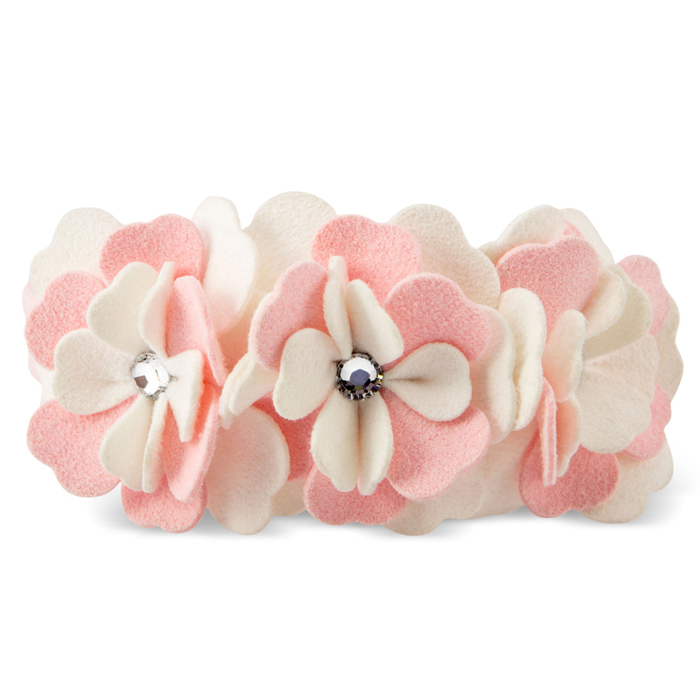 Susan Lanci Design - 'Tinkie Flowers' collar in soft puppy pink and white