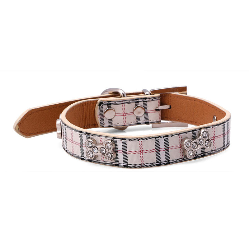 Furberry London look collar with rhinestone dog bones - TiaraPooches.Com