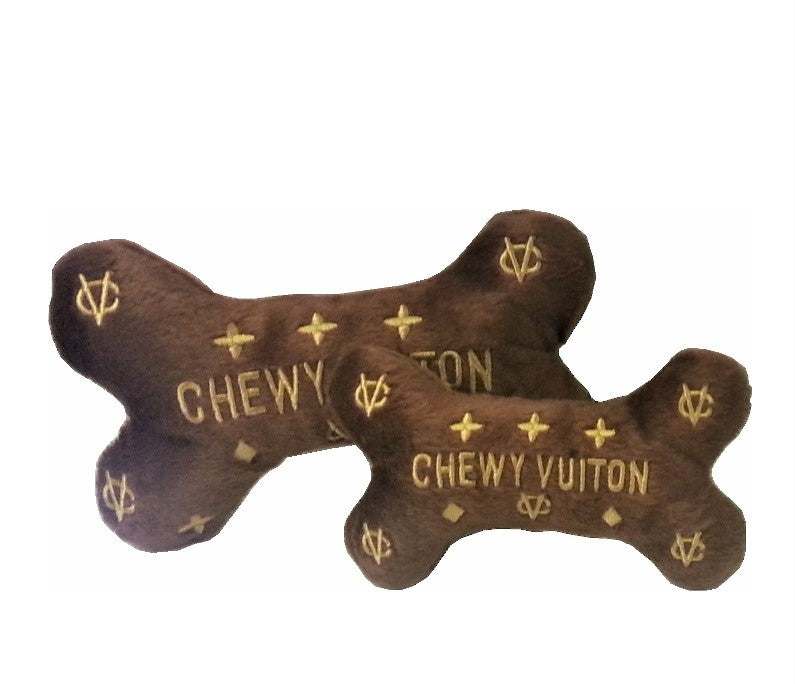 Chewy Vuiton plush brown faux fur bone with gold embroidered logo