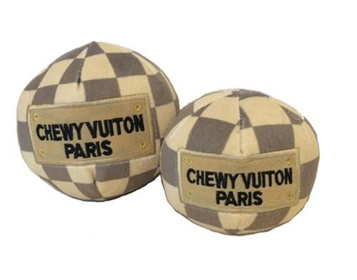 Chewy Vuiton check plush ball toy