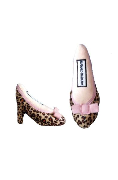 Jimmy Chew - Malano Barknik pink cheetah print faux fur plush toy shoe - TiaraPooches.Com