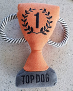 "Jimmy Chew limited edition ""1 Top Dog"" trophy hessian fabric dog toy"