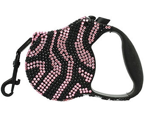 Crystal retractable lead in black and pink zebra print design