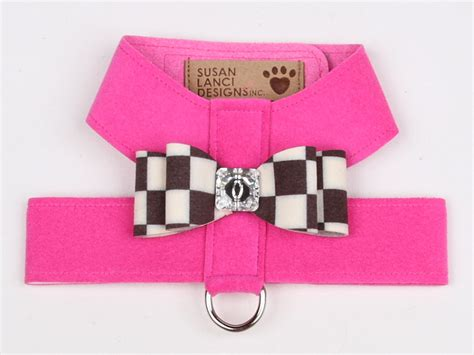 Susan Lanci Design - Tinkie harness with nouveau bow in pink sapphire - TiaraPooches.Com