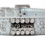 Vanderpump Pets signature diamond name plate leatherette collar, silver - TiaraPooches.Com