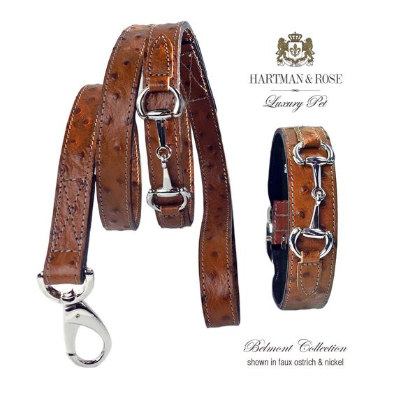 Hartman & Rose - Belmont luxury lead - ostrich & gold - TiaraPooches.Com