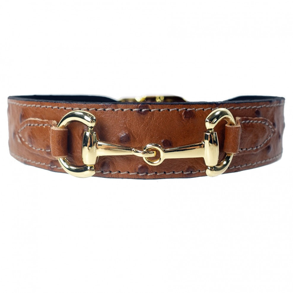 Hartman & Rose luxury Belmont collar in ostrich and gold - TiaraPooches.Com