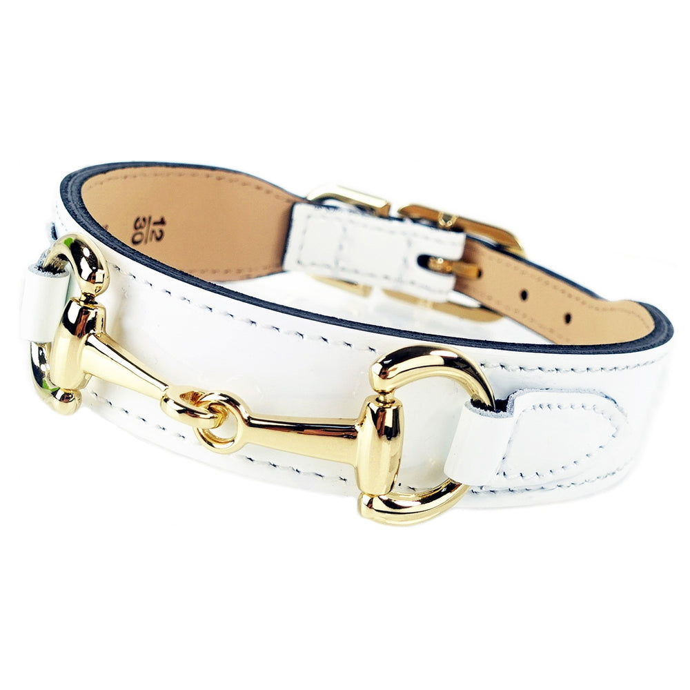 Hartman & Rose luxury Belmont collar in white patent and gold - TiaraPooches.Com