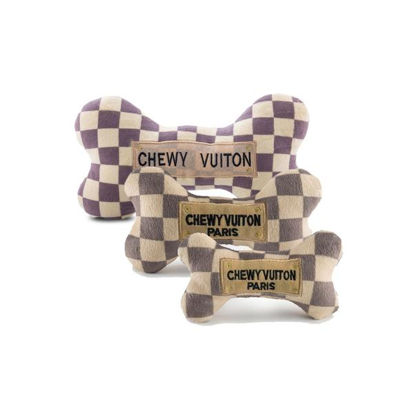 Chewy Vuiton check plush dog bone toy