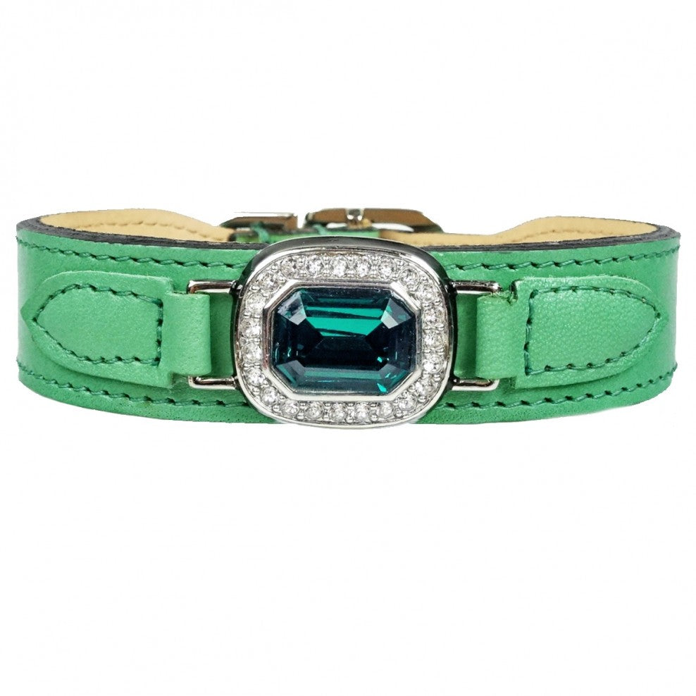 Hartman & Rose haute couture octagon in Kelly green, emerald and chrome - TiaraPooches.Com