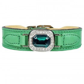 Hartman & Rose haute couture - emerald green leather and chrome lead - TiaraPooches.Com