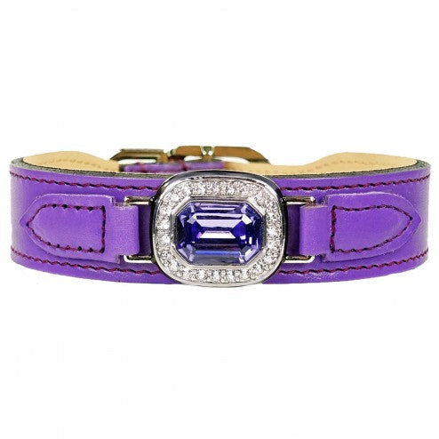 Hartman & Rose haute couture grape leather and chrome lead - TiaraPooches.Com
