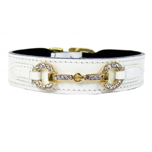 Hartman & Rose luxury horse bit collar in white patent leather and gold - TiaraPooches.Com